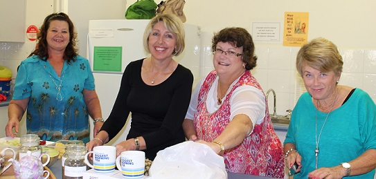 Sherryle, Carolyn, Allyson and Janine helping out with the Biggest Morning Tea 2013